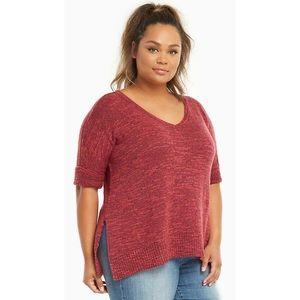 Torrid Marled Knit V-Neck Short Sleeve Sweater EUC